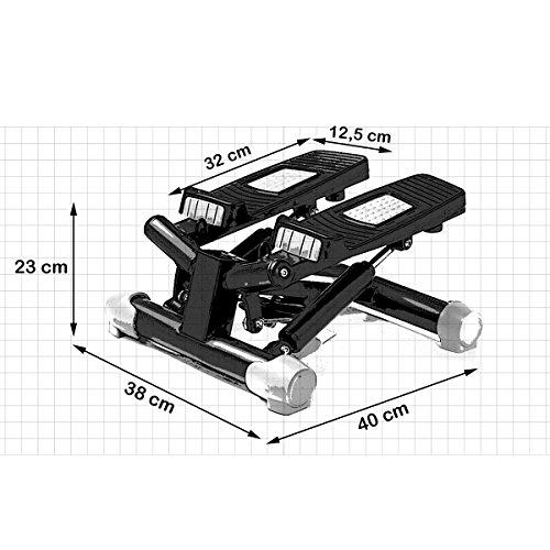 Fitkraft Twister FTKTSTEPSWI000 Swing Stepper Drehstepper Sidestepper mit Computer und Expande Schwarz - 12