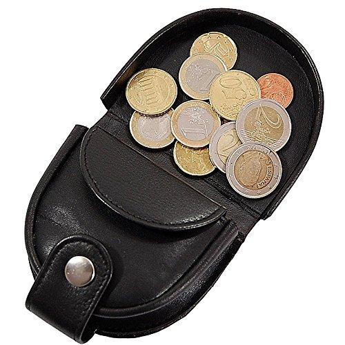 Branco Herren Schütter Geldbörse Leder Kleingeldbörse Münzbörse Schüttbörse Portemonnaie Geldbeutel Börse GoBago (Schwarz) Braun