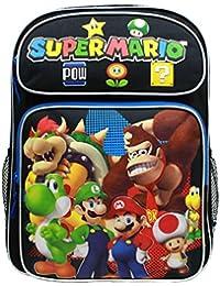 "Backpack - Nintendo - Super Mario Group Black 16"" School Bag New SD28258"