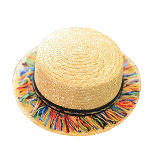 Kentop Strohhut Damen Zylinderhut Kreissäge Sunscreen Sonnenhut Runde Flat Top Strand Hut mit Farbiger Quaste
