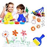 Pllieay 22 Pieces Kids Painting Brushes Sponge Drawing Set with Paint Bowls, Sponge Foam Brushes and Waterproof Apronfor Children Doodle, Sharing Paints