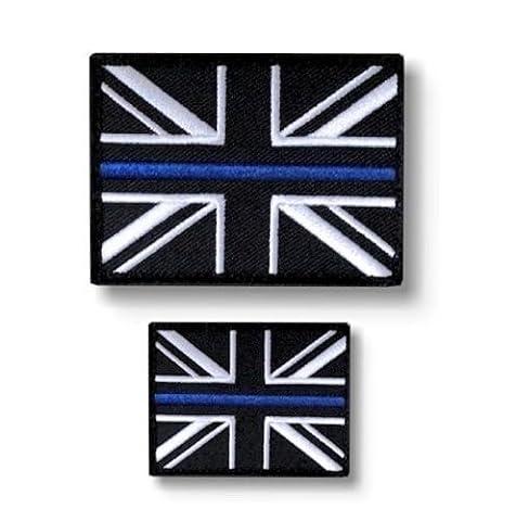 Thin Blue Line Police Union Jack Hook + Loop backed patch (UK Badge insignia) SET
