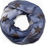 styleBREAKER Loop Schlauchschal mit Sterne und Vintage Farbverlauf Muster, Schal, Tuch, Damen 01017034, Farbe:Dunkelblau-Weiß