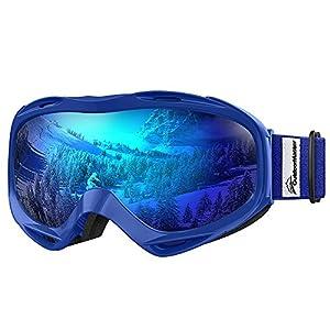 OutdoorMaster Premium Skibrille, Snowboardbrille Schneebrille OTG 100% UV-Schutz mit Rahmen Anti-Nebel, helmkompatible Ski Goggles für Damen und Herren/Jungen und Mädchen