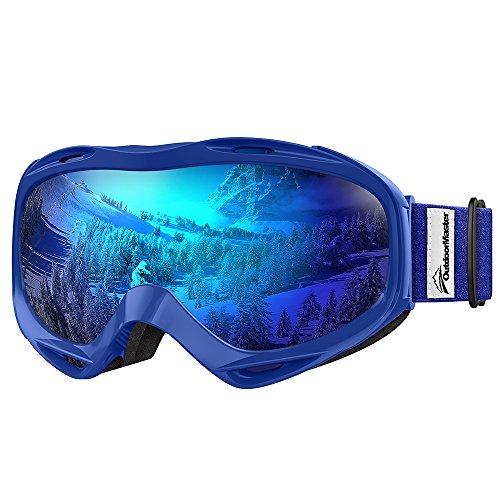 Premium Skibrille, Outdoormaster Snowboardbrille Schneebrille OTG 100% UV-Schutz, Helmkompatible Ski Goggles für Damen&Herren/Jungen&Mädchen(Blauer Rahmen + VLT 15,2% graue Linse mit vollem REVO Blau)