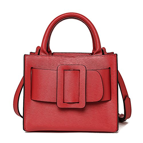 Mefly Borse In Pelle Borsetta Donna Moda Grigio Big red
