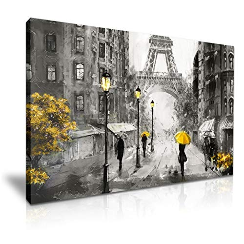 Lover Couple Yellow Umbrella France Paris Street Eiffel Tower Canvas Wall Art Picture Print