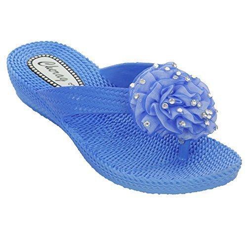 FANTASIA BOUTIQUE® femme tongs sandalettes talon bas fleur strass confortable Bleu