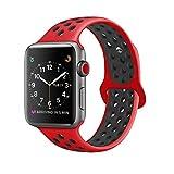 ZRO Smart Watch Armband, Soft Silikon Sport Ersatz Uhrenarmbänder für Apple iWatch Serie 3/ Serie 2/ Serie 1 42mm M/L, Rot/Schwarz