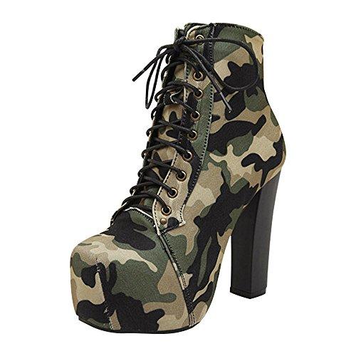 DULEE Fashion Army Camouflage High Heel Martin Stiefel Schuhe 37 -