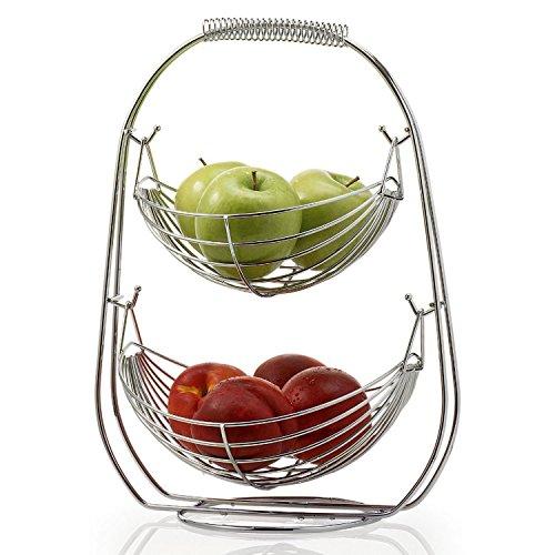Taylor & Braun® Verchromte schaukelnde Obst-Hängematte Gemüseschüssel Korb Rack Aufbewahrung Ständer Halter Neu, chrom, 2 Ablagefächer (Korb Für Zwiebel Und Kartoffel)