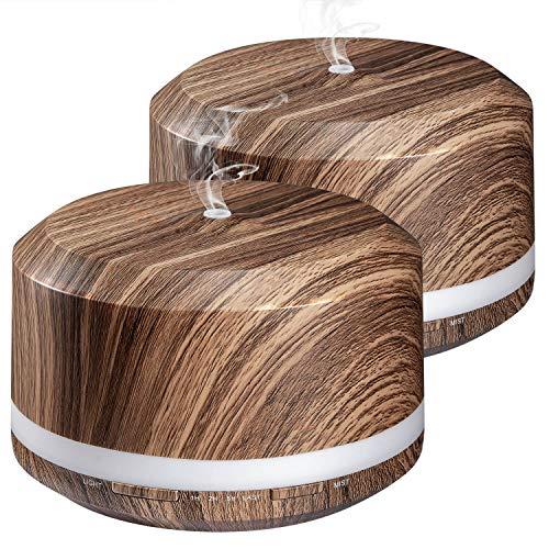 Aromatherapie Diffusoren, Ultraschall ätherisches Öl Diffusor 450ML Holzmaserung für große Zimmer mit einstellbarem Nebel-Modus, 4 Zeit-Einstellungen und 8 bunte Lichter - LUSCREAL