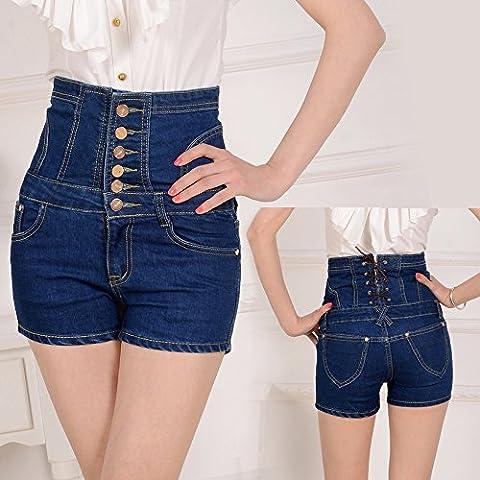 CU@EY Les femmes de haute élévation de la hanche solide Pack Slim denim shorts Pantalons,bleu,M