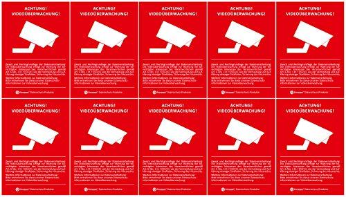 10x DSGVO BDSG Datenschutz-Aufkleber | Hinweis Achtung! Video-Überwacht Video-Überwachung A8 (5,2 x 7,4 cm)