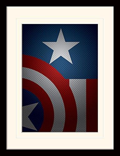 Pyramid International MP11194P-PL Avengers Assemble (Captain America Torso) montiert und gerahmt, mounted 250 gsm Paperwrap MDF, mehrfarbig, 44 x 33 x 4 cm Das Punisher-logo-poster