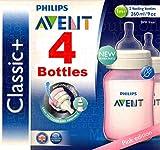 4x Philips Avent Classic 260ml/266ml Baby Fläschchen Rosa–Anti-Colic Weithals, und ergonomische Form + BPA-frei