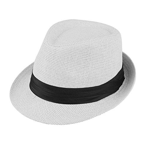 Lawevan chapeau unisexe fedora chapeau de paille avec bande de soie noire panama soie blanche