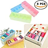 #9: Bulfyss 8 Pcs Undergarments Innerwear Cosmetic Makeup Drawer Organiser Partition Box (Multicolor)