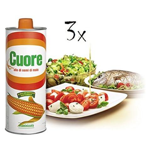 3x Olio Cuore Olio Mais Aus Italien Maissamenl Maiskaiml Maisl Corn Oil 1lt