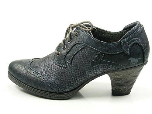 Mustang 1255-202 Schuhe Damen Pumps Schnürschuhe Hochfrontpumps, Schuhgröße:37;Farbe:Blau
