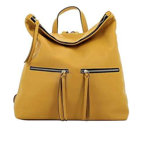 Dream Leather Bags Made in Italy Cuir Véritable Sac à Dos Pour Femme En Cuir Véritable Couleur Jaune - Maroquinerie Fait En Italie - Sac à Dos