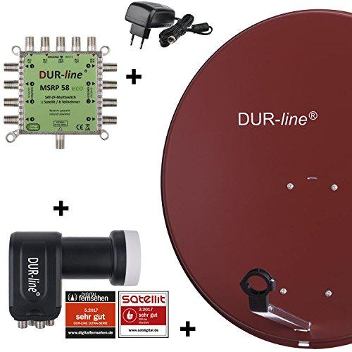 DUR-line MDA 80 Rot - Digitale 8 Teilnehmer Satellitenschüssel Komplett-Anlage mit premium Multischalter und LNB [Camping, Astra 19,2°, DVB-S/S2, Full HD, 4K, 3D]