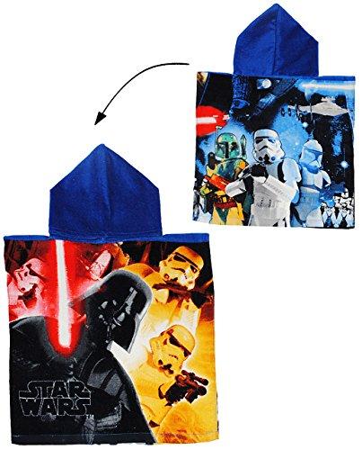 Unbekannt Badeponcho -  Star Wars  - 50 cm * 105 cm - 3 bis 6 Jahre Poncho - mit Kapuze - Handtuch Strandtuch Baumwolle - Starwars Darth Vader Skywalker Clonewars - J..