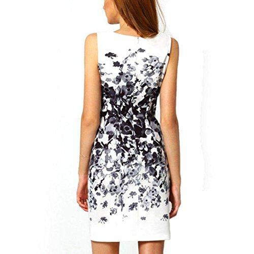 Sannysis Damen Sommer Sleeveless Bodycon Druck Partei Cocktail Minikleid OL Kleider Weiß