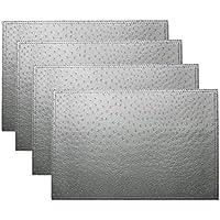 simpletome Manteles Individuales Salvamanteles Antideslizante Manteles Fácil de Limpiar 45 x 30cm 4Pack (Gris Plateado