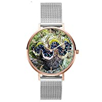 19Kenbeton Fashion Coral Shell Stainless Steel Mesh Band Allowing You to Wear Your Vincero for Both Work and Play Women Casual Quartz Watch Gift- 3#