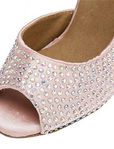 ShangYi Chaussures de danse ( Autre ) - Personnalisables - Talon Personnalisé - Satin - Latine / Salsa / Samba Red