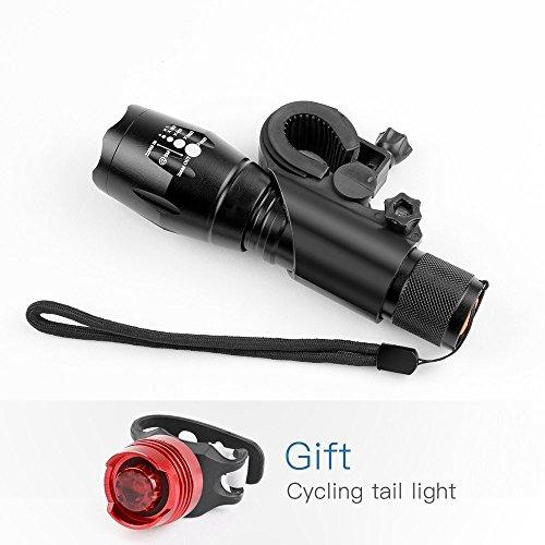 LED Fahrradbeleuchtung Frontlichter und Rücklicht, Halterung, Zoombarer Effekt, 900 Lumen, 3 Licht-Modi für Berg-Radfahren, Camping und täglichen Gebrauch