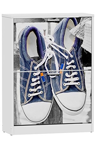 Zapatero de 2 puertas blanco 82x60cm, con serigrafia Sneakers azules