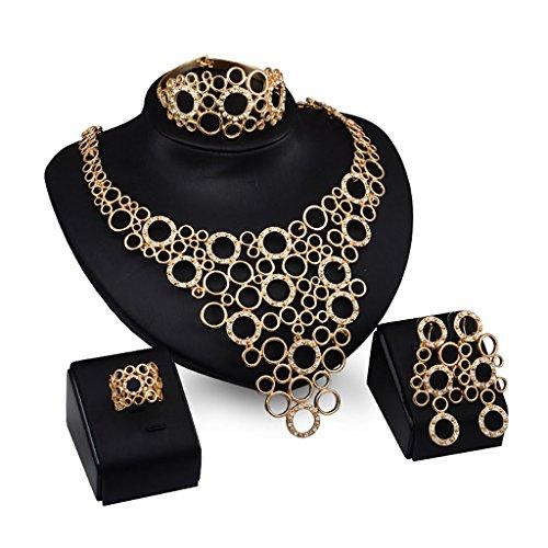 Huijun Frauen Schmuck Set - Luxus Halskette Armband Ohrringe Ring Party Kleid Zubehör