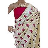 Harikrishnavilla Women's Latest Designer Party Wear New Collection Chanderi Cotton Bollywood Trendy Elegant 2018 Latest Designe Saree For Women With Bangalore Silk Unstitched Blouse ( Multi-Colour Butterfly, Free Size) - B07CK8L9J4