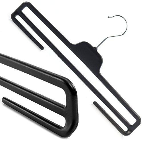 Hangerworld 50 Perchas 35.5cm Plástico Negro con Barra para Pantalones Ahorra Espacio Gancho Metal