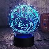 Juego de tronos lámpara una canción de hielo y fuego Casa Targaryen 3D RGB LED luz de la noche USB Lampara de mesa decoracion del hogar de regalo de Navidad