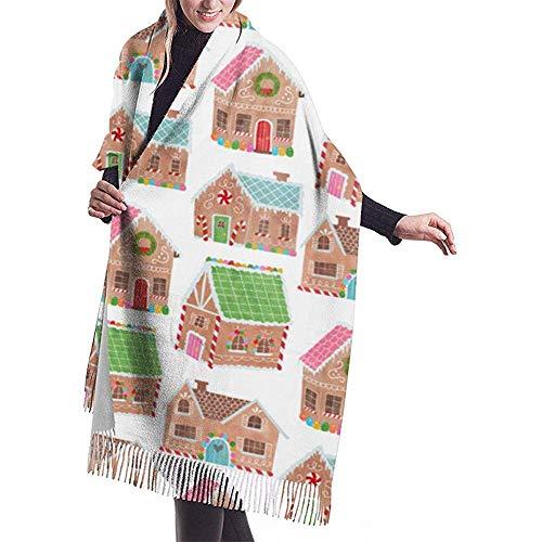 Elaine-Shop Gingerbread Street Schal Wrap Winter Warmer Schal Cape Cashmere Schal Wrap