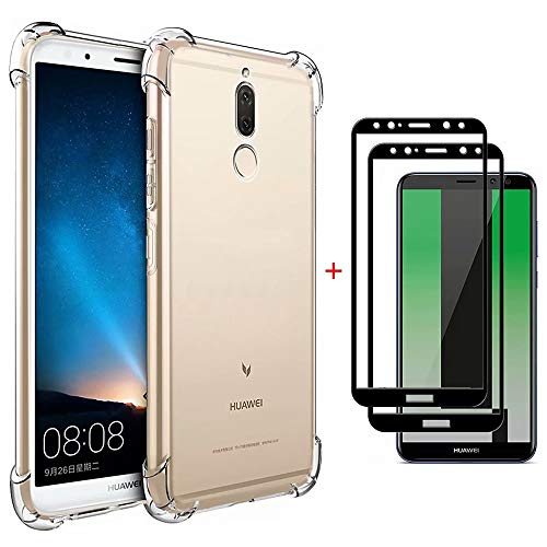 MISSDU Replacement for Case Huawei Mate 10 lite Case Clear [2* Free Tempered Glass Screen Protector], Shockproof Soft Flexible TPU Silicone Gel Protective Shell Case Cover Transparent (Glitzer Protective Screen)