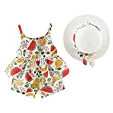 Julhol Toddler Baby Bambina Senza Floreale Fruit Strap Top Shorts Outfit Cappello Casual Set per Il Tempo Libero Estate