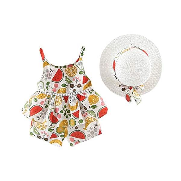 Trisee Chicas Trajes de Verano Trajes Florales para bebés Honda Camisetas sin Mangas sin Mangas, Pantalones y Conjunto… 3