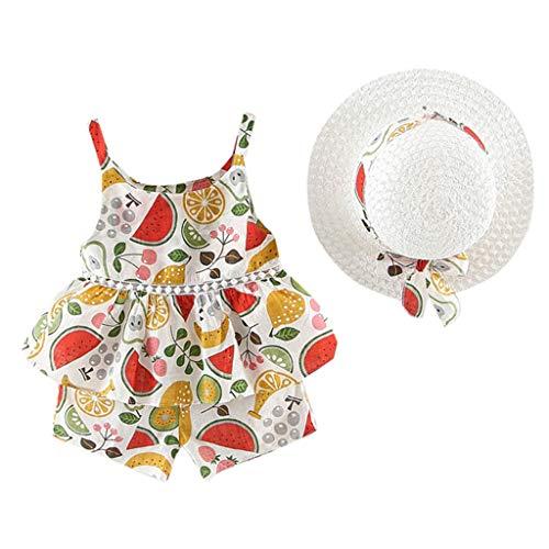 Elf Kostüm Verkauf Für - SUNFANY Schöne Kleider für Mädchen Sommer Ärmellos Obst Blumendruck Rüschen Festliches Kostüm Kleiden Prinzessin + Strohhut Gr. 12M-4Y(Mehrfarbig,11/2-3 Jahre)