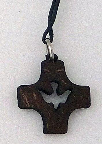 Anhänger 'Pfingst-Kreuz',a.Kokosschale,m.Band,ca.2,5x2,5cm
