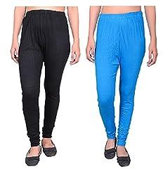 88d2bce8 76%off Krystle Womens|Girls Cotton Black and Sky Blue Legging (Pack of 2)