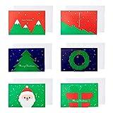 24Pcs Cartolina di Auguri con 24 buste e 24 adesivi di buon Natale, Fatti a Mano Retrò Carta Kraft Buste Vuote Natale Biglietti d'auguri Biglietto di auguri di buon Natale 6 Design festivi Cartolina