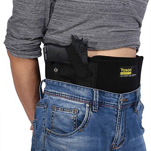 Pbzydu Einstellbare Taktische elastische Bauchband-Pistolenhalfter verdeckt einziehbare einstellbare Größe des Lebens bis zum Bauchband Taille Gürtelholster für verdeckte tragen -
