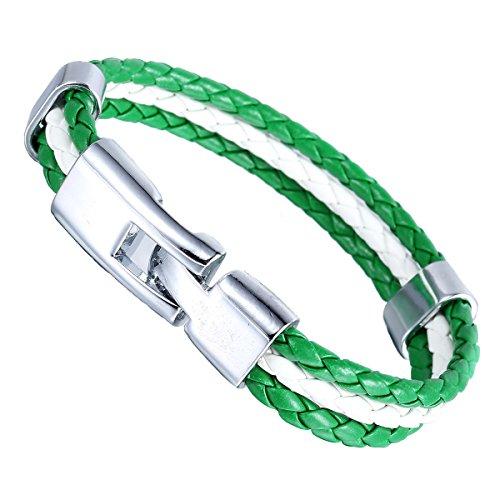 Trendsmax 11mm Uomini del braccialetto del cuoio del surfista Donne Nigeria Bandiera 3 Strand corda intrecciata Verde Bianco Wristband