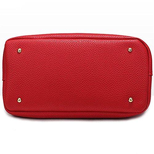 Longra Donna Sacchetti di cuoio in microfibra con serratura a tutto scatola Rosso
