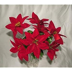 A1-Homes – Arbusto de flores de terciopelo artificial con 7 cabezas cada una, Navidad