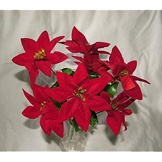 3x Artificial flor de terciopelo rojo Pascua Bush–7cabezas cada–Navidad por a1-homes